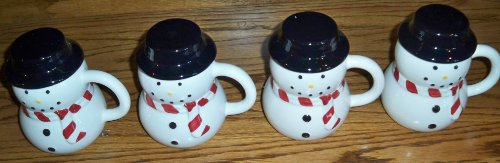 Snowman Mugs Set of 4 - 13 Oz Mugs with Removeable Hat Lids