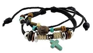 Christian Cross Zen Bracelet / Leather Bracelet / Leather Wristband / Surf Bracelet Adjustable Size, for Men, Women, Boys and Girls, Teens