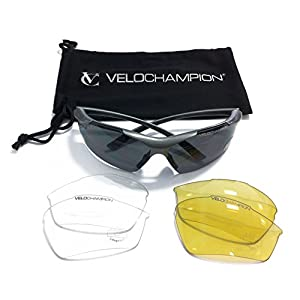 VeloChampion Tornado Cycling Running Sports Sunglasses - Black with 3 Sets of Interchangeable Lenses and Soft Carry Pouch