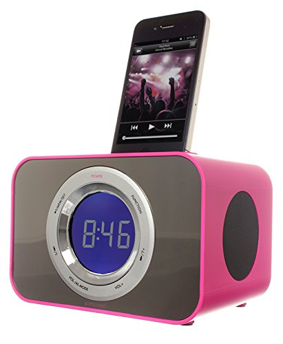 KitSound Clock Radio Dock for iPhone 3G, 3GS, 4, 4S, iPod Nano 5th Generation and iPod Touch 4th Generation - Punk Pink