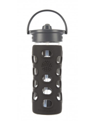 Lifefactory 12-Ounce Glass Bottle with Straw Cap and Silicone Sleeve, Black