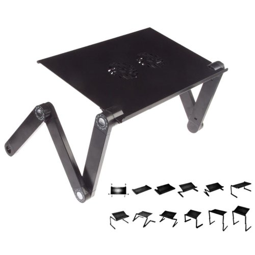 Multifunctional Aluminum Foldable Laptop Desk with 2 Usb-powered Cooling Fans