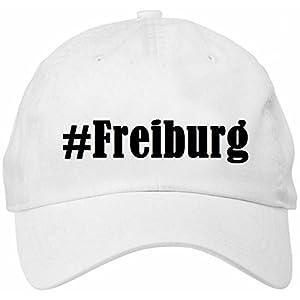 Base Cap Hashtag #Freiburg Hashtag Raute für Damen Herren und Kinder ... in den Farben Schwarz und Weiß Hip Hop Streetwear