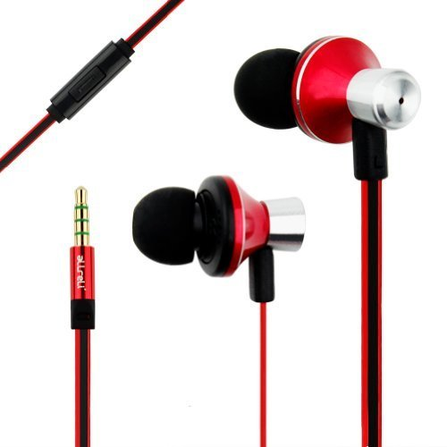 Allreli? Nk-116 Noise Isolating Stereo Headset Iem In-Ear Monitor Design Earphones Ergonomic Comfortable Ultra Fit Corded Headphones With Microphone - Red