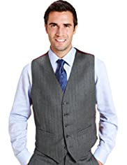 Sartorial Pure Wool 5 Button Herringbone Striped Waistcoat
