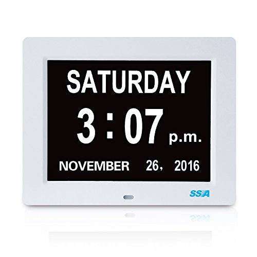 Digital Day Clock, Memory Loss Digital Calendar Day Clock, with Extra Large Non-Abbreviated Day & Month. Perfect for Seniors (White) (Digital Clock With Date compare prices)
