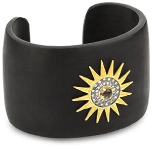 "Kevia ""Nouveau"" Smoky Quartz Starburst Medallion on Black Horn Cuff Bracelet"