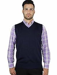 Blue Ocean Solid V-Neck Sweater Vest-Navy-X-Large