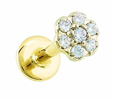 Body Gems 14kt Solid Gold Labret - 7 Stone Genuine Diamond Flower Cluster - 14 Gauge 3/8