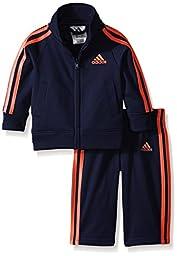 adidas Baby Boys\' Iconic Tricot Jacket and Pant Set, Dark Indigo/Orange, 18 Months