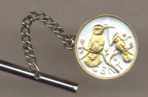 Gorgeous 2-Toned Gold on Silver World Coin Tie-Tack-133TT