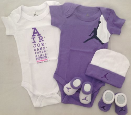 Nike Jordan Infant New Born Baby Boy/Girl Shoulder Bodysuit, Booties and Cap 0-6 Months One Set 3 Piece Set