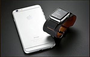 Apple Watch Band, Sanday Muñequera Correa de piel auténtica con 38mm & 42mm para Apple Watch iWatch Eduction & Sport marca Sanday Factory