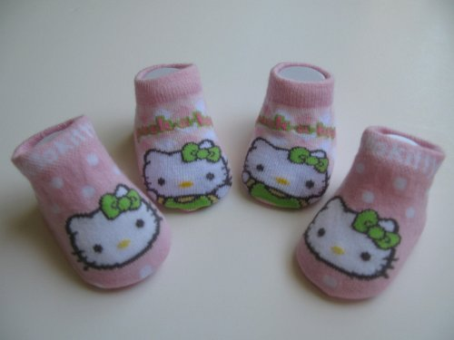 Hello Kitty Newborn Infants Baby Pink with Polka Dot and Checker/ Plaid Design Booties 0-12months Two Pairs; New in Box + FREE 3.5MM ANTI DUST PLUG RANDOM PICK