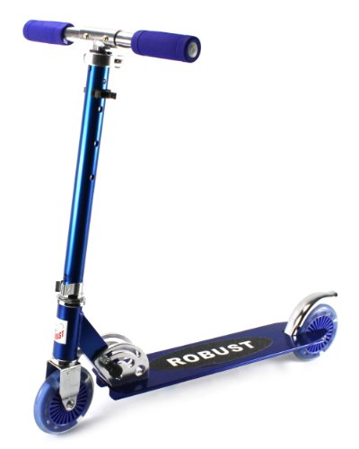 Robust Elephant Pro 320 Children'S Two Wheeled Metal Toy Kick Scooter W/ Adjustable Handlebar Height, Abec-5 Precision Bearings, Light Up 125Mm Wheels (Blue)