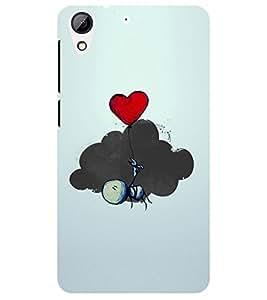 Chiraiyaa Designer Printed Premium Back Cover Case for HTC Desire 728 (boy girl friend valentine miss kiss heart cartoon) (Multicolor)