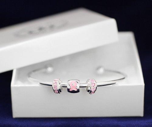 Pink Ribbon Bracelet- Bangle w/ Floating Crystal Charm (18 Bracelets)