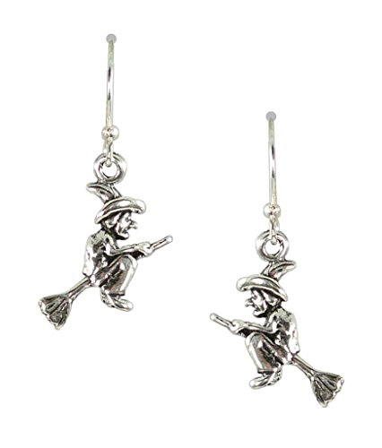 Bali Sky Sterling Silver Tiny Witch on Broom Drop Earrings