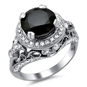 4.0ct Black Round Diamond Engagement Ring 14K White Gold Vintage Style