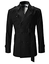 FLATSEVEN Mens Slim Fit Designer Casual Trench Coat Black, M