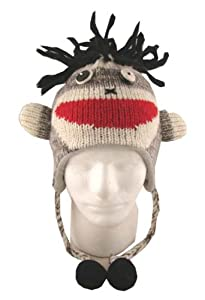 Kids Punk Rock Sock Monkey 100% Wool Pilot Ski Animal Cap/Hat With Fleece Lined Pom Pom