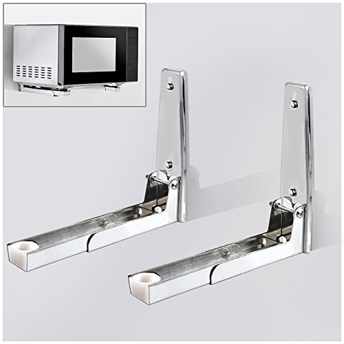 Hug Flight 201 Stainless Sturdy Foldable Microwave Oven Wall Mount Bracket Shelf Rack Load 100lb