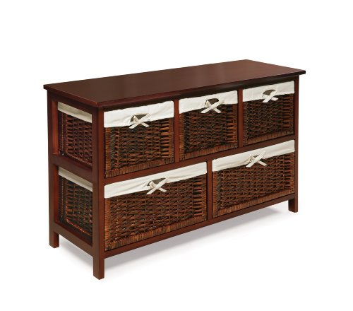 Badger Basket Five Basket Storage Unit with Wicker Baskets, Cherry Storage and Organization Furniture