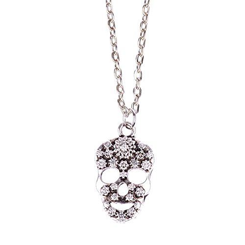 Pop Wild Women Fashion Snowflake diamond Skull and Crossbones Pendant Necklace (Banner Coil Clean compare prices)