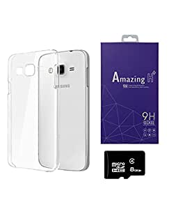 SAMSUNG Galaxy J1 Ace PRINTZ Transparent Soft Back Case Cover With 8 GB MEMORY CARD AND TEMPERED CLASS Combo