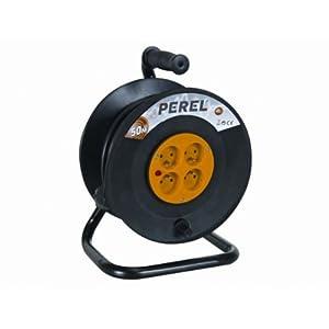 Perel 51012 Rallonge électrique sur enrouleur 4 prises avec disjoncteur de sécurité 50 m Noir