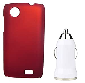 XUWAP Hard Case Cover With Car Charger For Lenovo A369i - Red