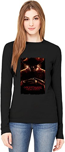Nightmare on elm street welcome T-Shirt da Donna a Maniche Lunghe Long-Sleeve T-shirt For Women| 100% Premium Cotton Ultimate Comfort Large