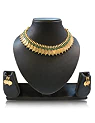 Zeneme Green Traditional Temple Coin Necklace Set For Women