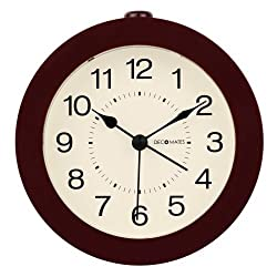 DecoMates Non-Ticking Silent Wall and Desk Alarm Clock, Small, Timeless, Brown