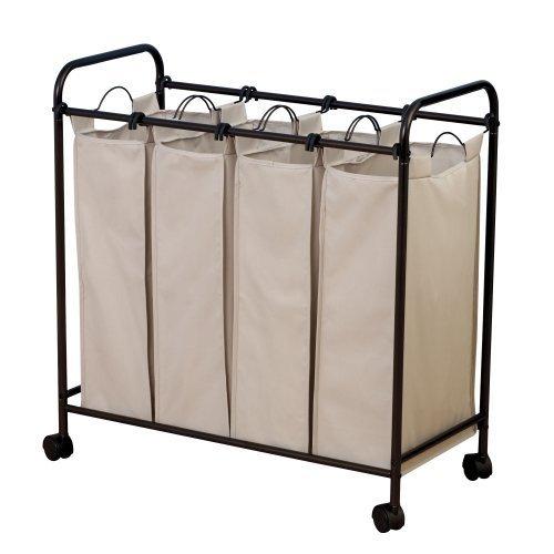 Household Essentials Rolling Quad Sorter Laundry Hamper with Natural Polyester Bags, Antique Bronze Frame xml schema essentials