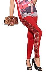 1 stop fashion Red Cotton Lycra Leggings