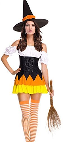 Sexy Candy Corn Witch Halloween Costume Fancy Dress Outfit