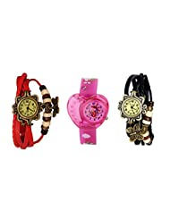 ANALOG KIDS WATCH WITH HELLO KITTY CARTOON PRINTED ON DIAL AND STRAP WITH 2 FREE WOMEN BRACELET WATCH-SET OF 3