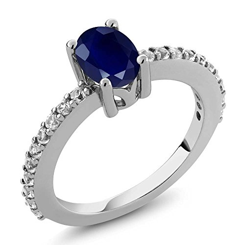 sterling-silver-blue-sapphire-and-white-created-sapphire-womens-ring-132-ct-7x5mm-oval-available-in-