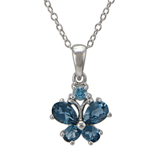 Sterling Silver London Blue Topaz Butterfly Pendant Necklace, 18