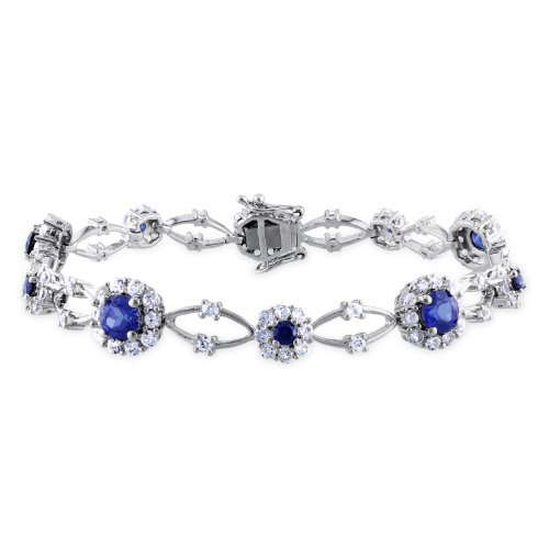 Sterling Silver 7 1/3ct TGW Created Blue and White Sapphire Bracelet (7