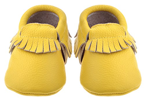 Sayoyo Baby Yellow Tassels Soft Sole Leather Infant Toddler Prewalker Shoes (Newborn, Yellow)
