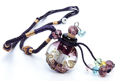 Essential Oil Diffuser Necklace for Aromatherapy - FLYMEI Handmade Glazed Glass Locket Pendant with Origin Cork Cover& Oil Dropper- Fashion Jewelry for Women & Girls(Purple) (Doterra Oils Humidifier compare prices)