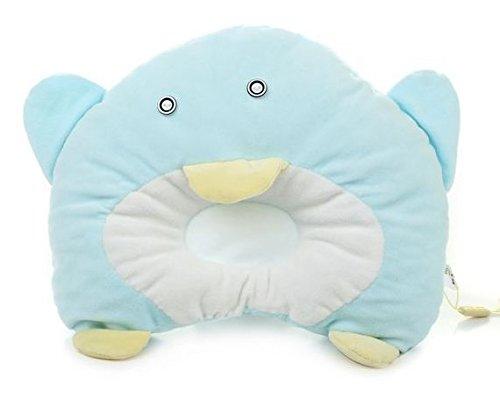 Hot Newborn Baby Boy Girl Anti-Roll Pillow Flat Head Sleeping Positioner Penguin (Lake Blue)