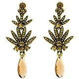 Clip On Earrings Store Topaz Crystal Fan Drop Clip On Earrings - Gift Boxed