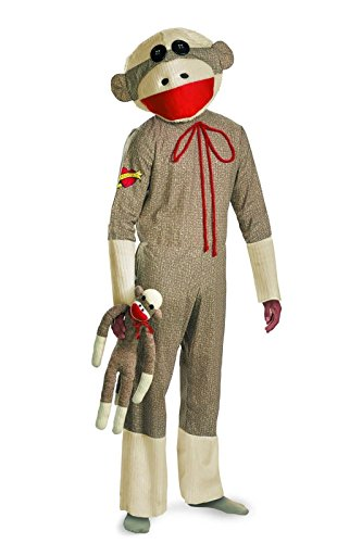 Classic Toy Sock Monkey Adult Costume Halloween Mask Tail Jumpsuit Plus Size XL