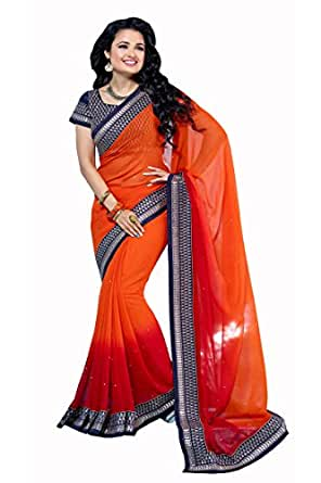 Striking Orange & Red Coloured Embroidered Georgette Chiffon Designer Saree available at Amazon for Rs.2745