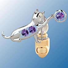 Chrome Playful Cat Night Light - Purple Swarovski Crystal