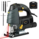 Ginour 7.0A 3000SPM Jigsaw with Laser Guide & LED, 6-level Variable Speed, Bevel Angle (0°-45°), Jig Saw Set With 3PCS Blades, Scale Ruler and Carrying Case (Color: Dark green & black & yellow)