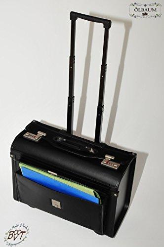 1-Stck-wetterfester-Koffer-Pilotenkoffer-Flugkoffer-Flugreise-Zubehr-Piloten-Trolley-koffer-schwarz-robuster-XXL-Hardcase-Koffer-standfest-Leder-Kunstleder-Lederimitat-gerumige-Tasche-mit-grosszgiger-